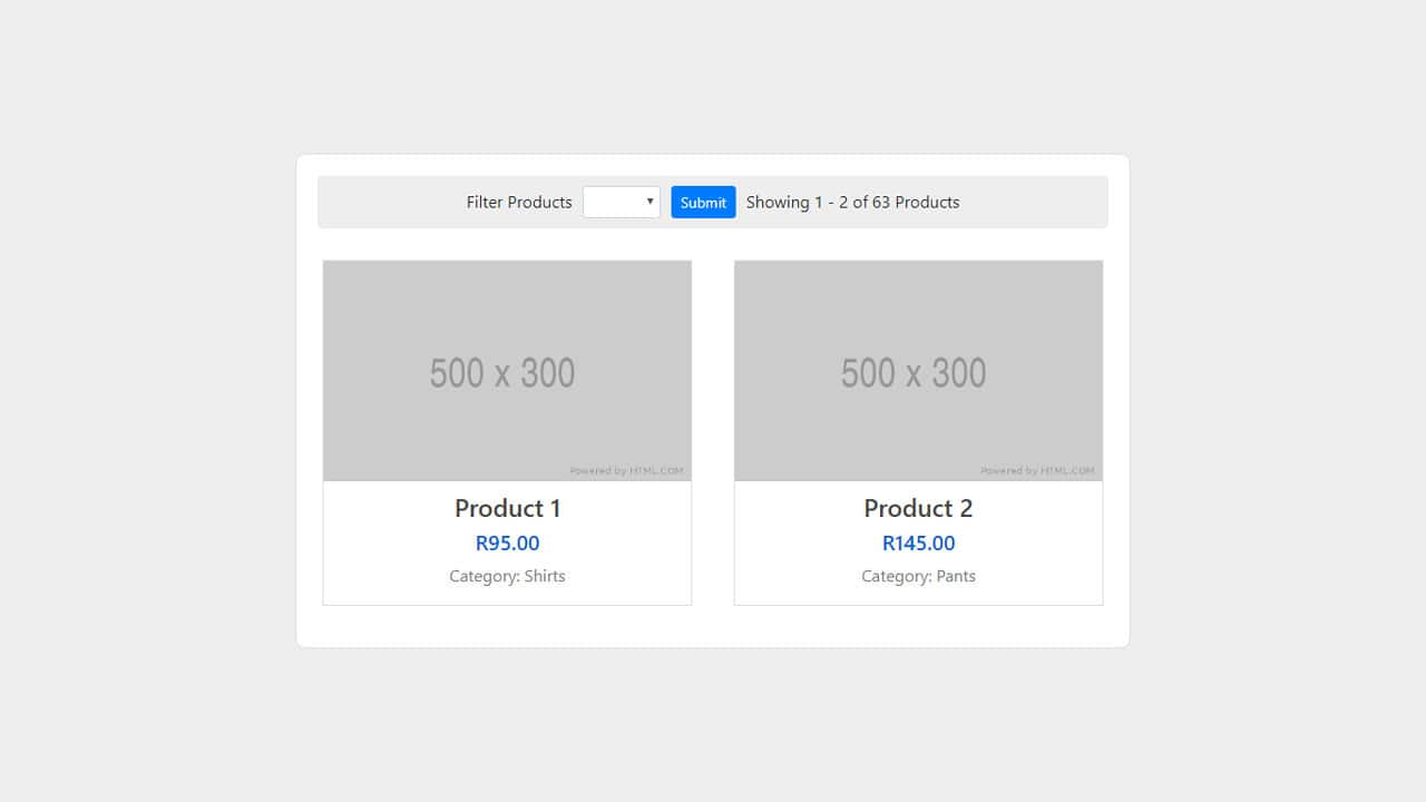Display posts and products with filters and pagination