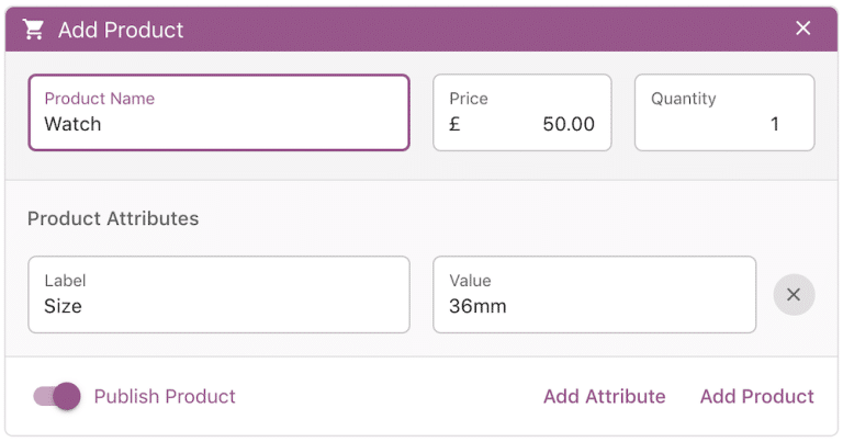 Add custom products on-the-go right from the Point of Sale interface.
