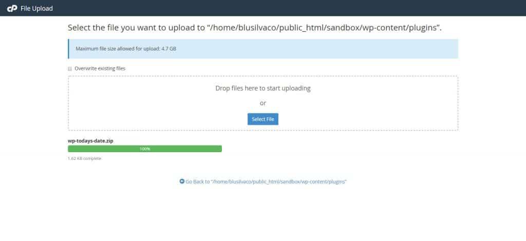 cPanel file manager to upload WordPress Plugin